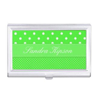 Green and White Polka Dot Business Card Holder