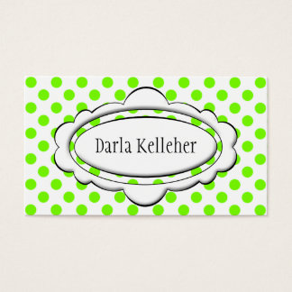 Green and White Polka Dot Business Cards