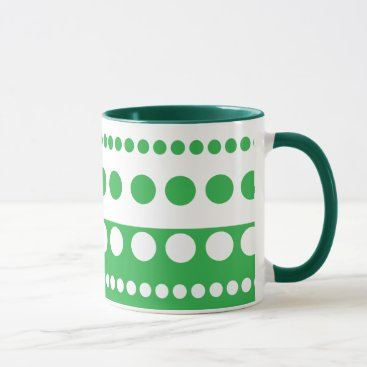 Coffee Themed Green and white polka dot coffee mug