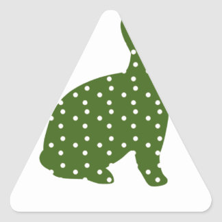 Green and White Polka Dot Easter Bunny Rabbit Triangle Sticker
