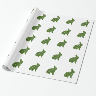 Green and White Polka Dot Easter Bunny Rabbit Wrapping Paper