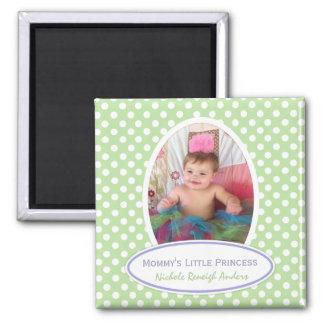 Green and White Polka-dot: Framed Photo Magnet