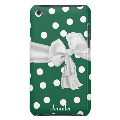 Green and White Polka Dot iPod Case Barely There iPod Cover