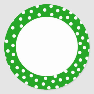 Green and white polka dot label round stickers