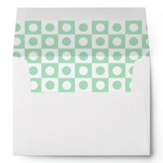 Green and White Polka Dot Lined Envelope envelope