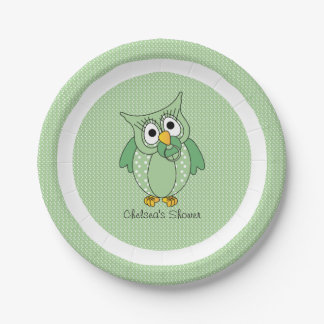 Green and White Polka Dot Owl | Personalize 7 Inch Paper Plate