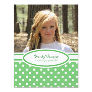 Green and White Polka Dot Party Invitation