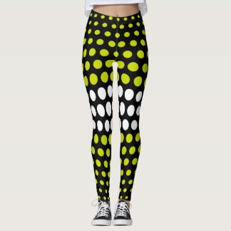 Green and White Polka Dot Pattern Leggings