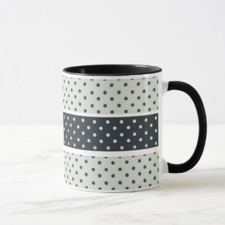 Green and white polka dot  pattern mug