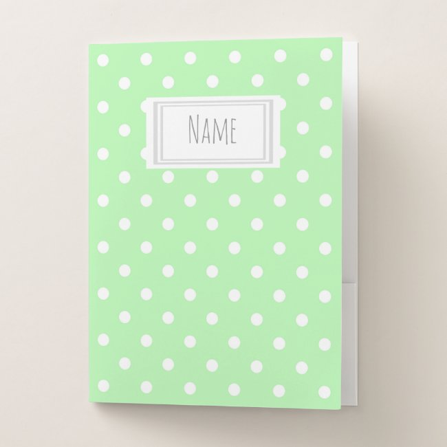 Green and White Polka Dot Pattern Name/Subject