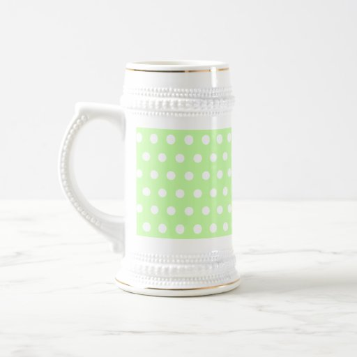Green and White Polka Dot Pattern. Spotty. 18 Oz Beer Stein
