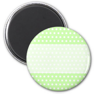 Green and White Polka Dot Pattern. Spotty. 2 Inch Round Magnet