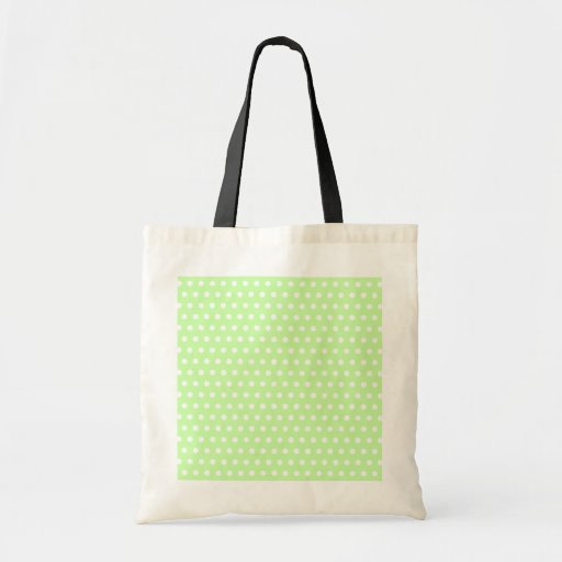 Green and White Polka Dot Pattern. Spotty. Bags
