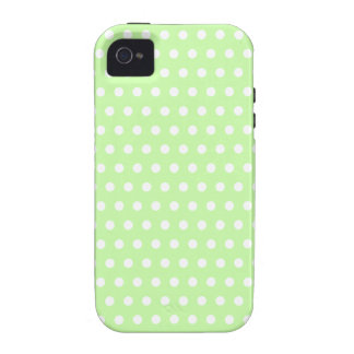 Green and White Polka Dot Pattern. Spotty. Case-Mate iPhone 4 Cover
