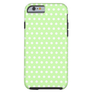 Green and White Polka Dot Pattern. Spotty. Tough iPhone 6 Case