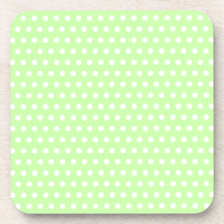 Green and White Polka Dot Pattern. Spotty. Drink Coaster