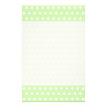 Green and White Polka Dot Pattern. Spotty. Flyer