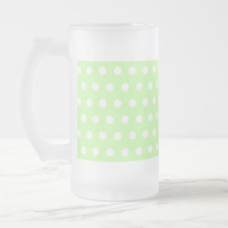 Green and White Polka Dot Pattern. Spotty. Frosted Glass Beer Mug