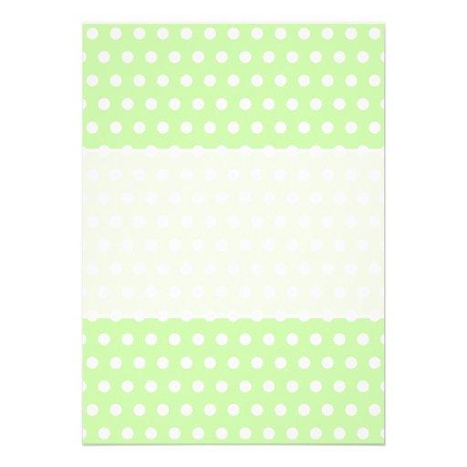 Green and White Polka Dot Pattern. Spotty. Custom Invitations