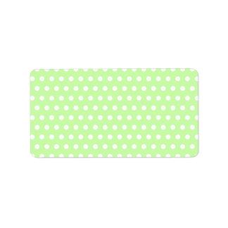 Green and White Polka Dot Pattern. Spotty. Custom Address Label
