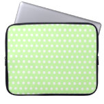 Green and White Polka Dot Pattern. Spotty. Computer Sleeve