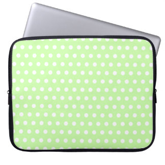 Green and White Polka Dot Pattern. Spotty. Laptop Sleeve