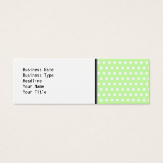 Green and White Polka Dot Pattern. Spotty. Mini Business Card
