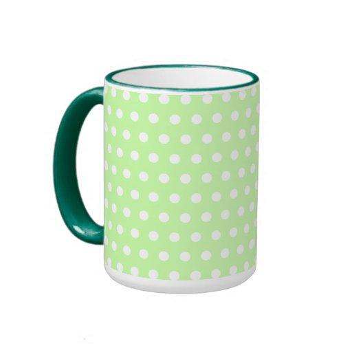 Green and White Polka Dot Pattern. Spotty. Ringer Coffee Mug
