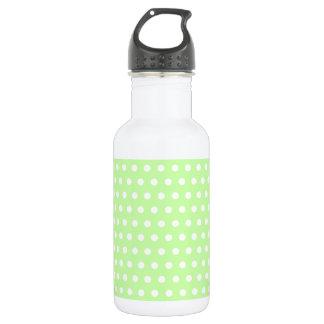 Green and White Polka Dot Pattern. Spotty. 18oz Water Bottle