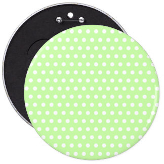Green and White Polka Dot Pattern. Spotty. Pinback Button