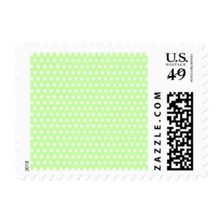 Green and White Polka Dot Pattern. Spotty. Postage