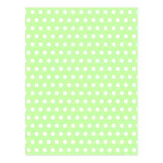 Green and White Polka Dot Pattern. Spotty. Postcard