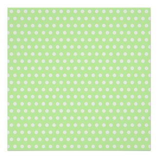 Green and White Polka Dot Pattern. Spotty. Posters