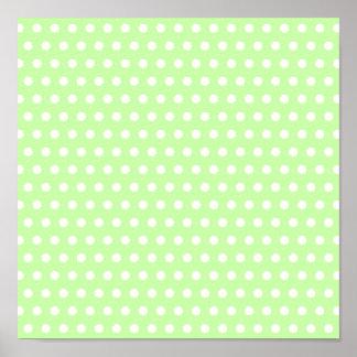Green and White Polka Dot Pattern. Spotty. Print