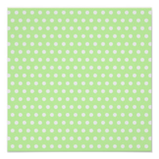 Green and White Polka Dot Pattern. Spotty. Poster