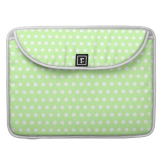 Green and White Polka Dot Pattern. Spotty. Sleeve For MacBook Pro
