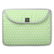 Green and White Polka Dot Pattern. Spotty. Sleeve For MacBooks