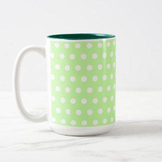 Green and White Polka Dot Pattern. Spotty. Two-Tone Coffee Mug