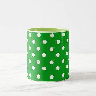 GREEN AND WHITE POLKA DOT PATTERN Two-Tone COFFEE MUG