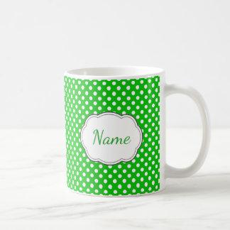 Green and White Polka Dot Personalized Mug