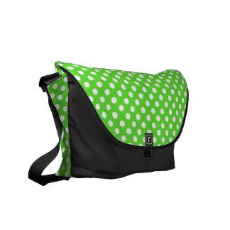 Green and White Polka-dot Rickshaw Messeger bag