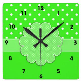 Green and White Polka Dot Wall Clock