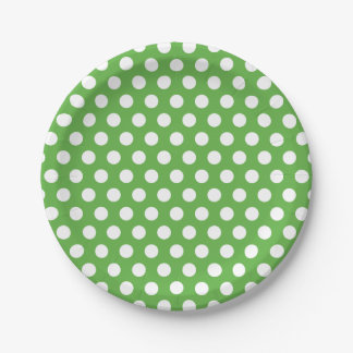 Green and White Polka Dots 7 Inch Paper Plate