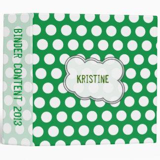 Green and white polka dots binder