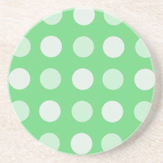 Green And White Polka Dots Drink Coaster