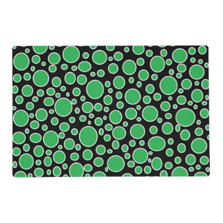 Green and White Polka Dots Laminated Placemat