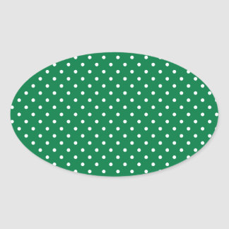 Green and White Polka Dots Oval Sticker