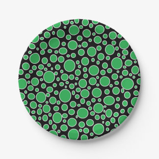 Green and White Polka Dots Paper Plates