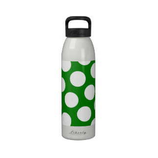 Green and White Polka Dots Reusable Water Bottle