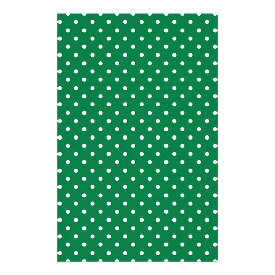 Green and White Polka Dots Stationery